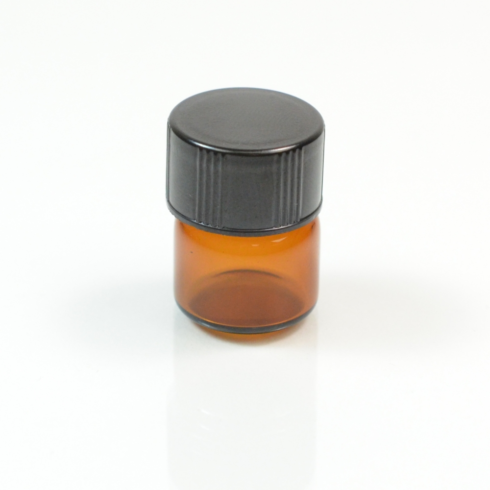 1/3 DRAM Screw Thread Amber Glass Vial 13/425