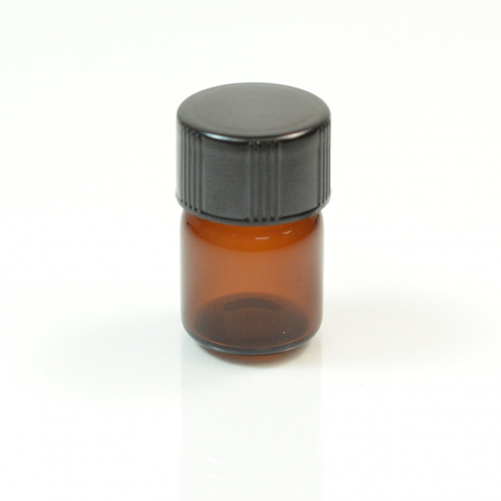 1/2 DRAM Screw Thread Amber Glass Vial 13/425
