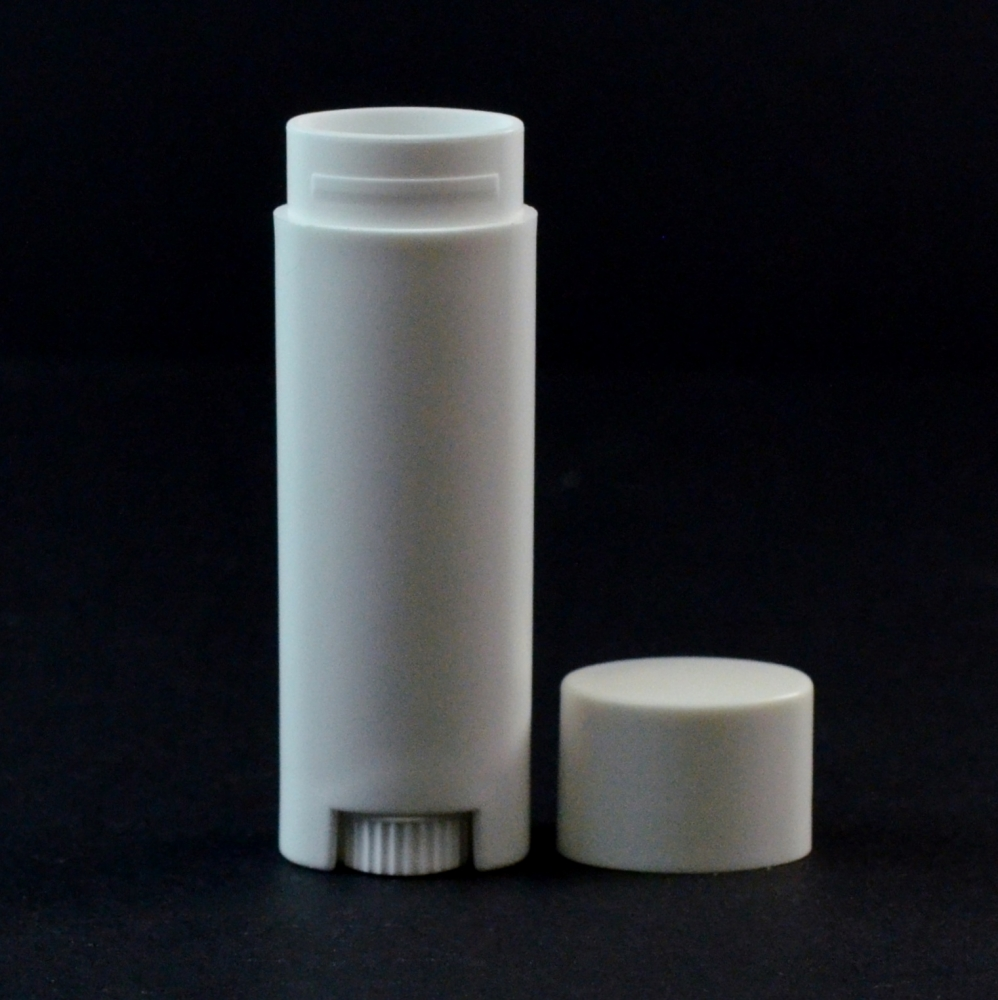 .15 oz White Elliptical Lip Balm Container, 2.66″ Tall with Cap – #580