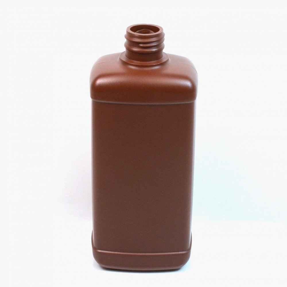 16 oz 28/410 Amber Blake Oblong HDPE Bottle