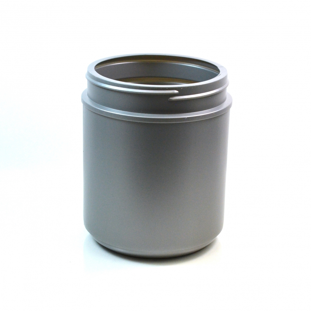 55 oz 120/400 Grey HDPE Wide Mouth Regular Wall Straight Sided Jar