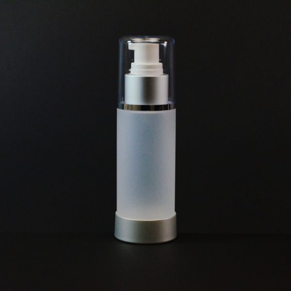 Airless Bottle 100ml Frosted Matte Silver Collar with Clear Hood_2979