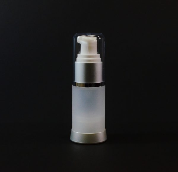 Airless Bottle 15ml Frosted Matte Silver Collar with Clear Hood_2976