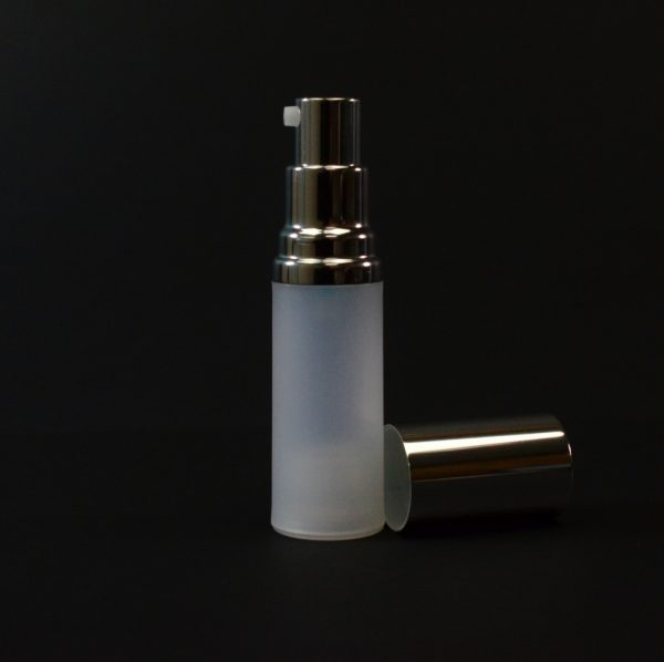 Airless Bottle 15ml Frosted PP Shiny Silver Pump and Hood_2973