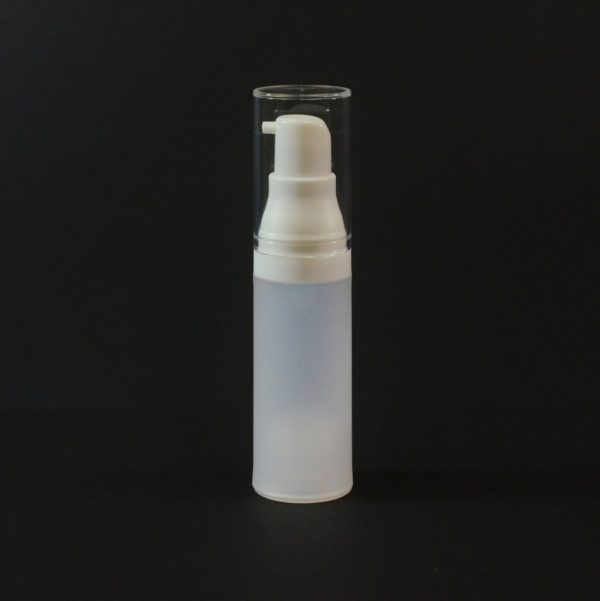 Airless Bottle 15ml Frosted White with Clear Hood_2980