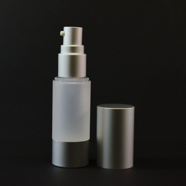 Airless Bottle 15ml Frosted with Matte Silver Pump and Hood_2970