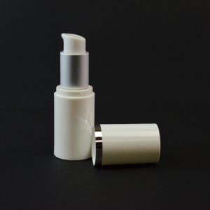 Airless Bottle 15ml White with Matte Silver Collar and White Hood_2983