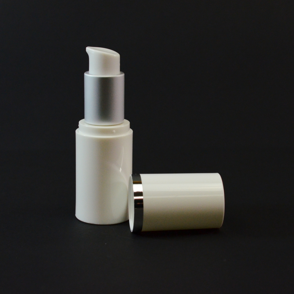 15 ml Airless White Bottle with Matte Silver Collar and White Hood