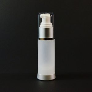 Airless Bottle 30ml Frosted Matte Silver Collar with Clear Hood_2977