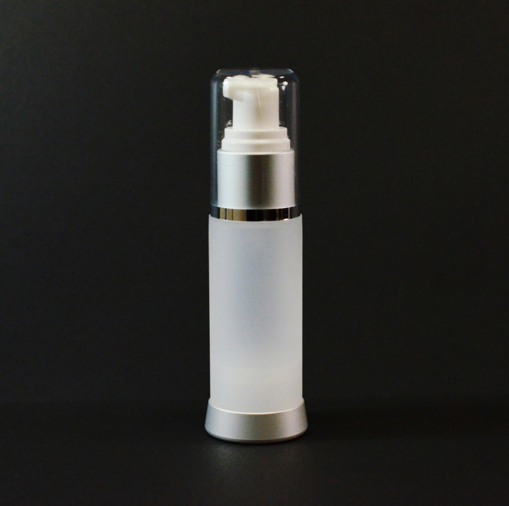 30 ml Airless Frosted Bottle Matte Silver Collar with Clear Hood