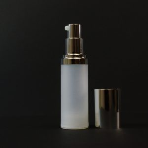 Airless Bottle 30ml Frosted PP Shiny Silver Pump and Hood_2974