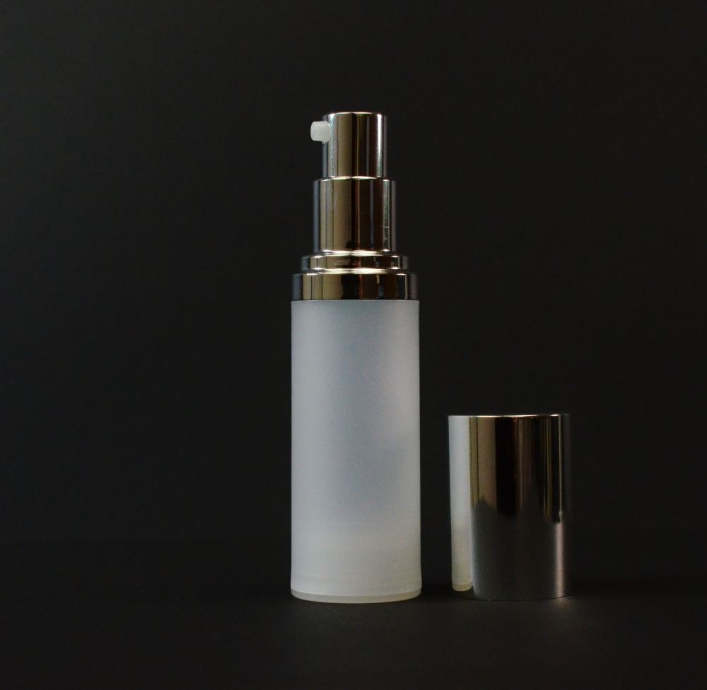 30 ml Airless Frosted Bottle Shiny Silver Pump and Hood PP