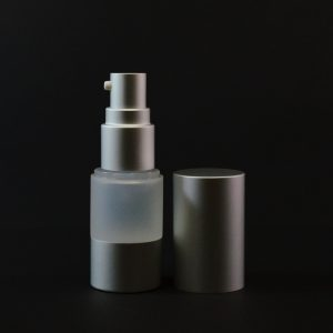 Airless Bottle 30ml Frosted with Matte Silver Pump and Hood_2972