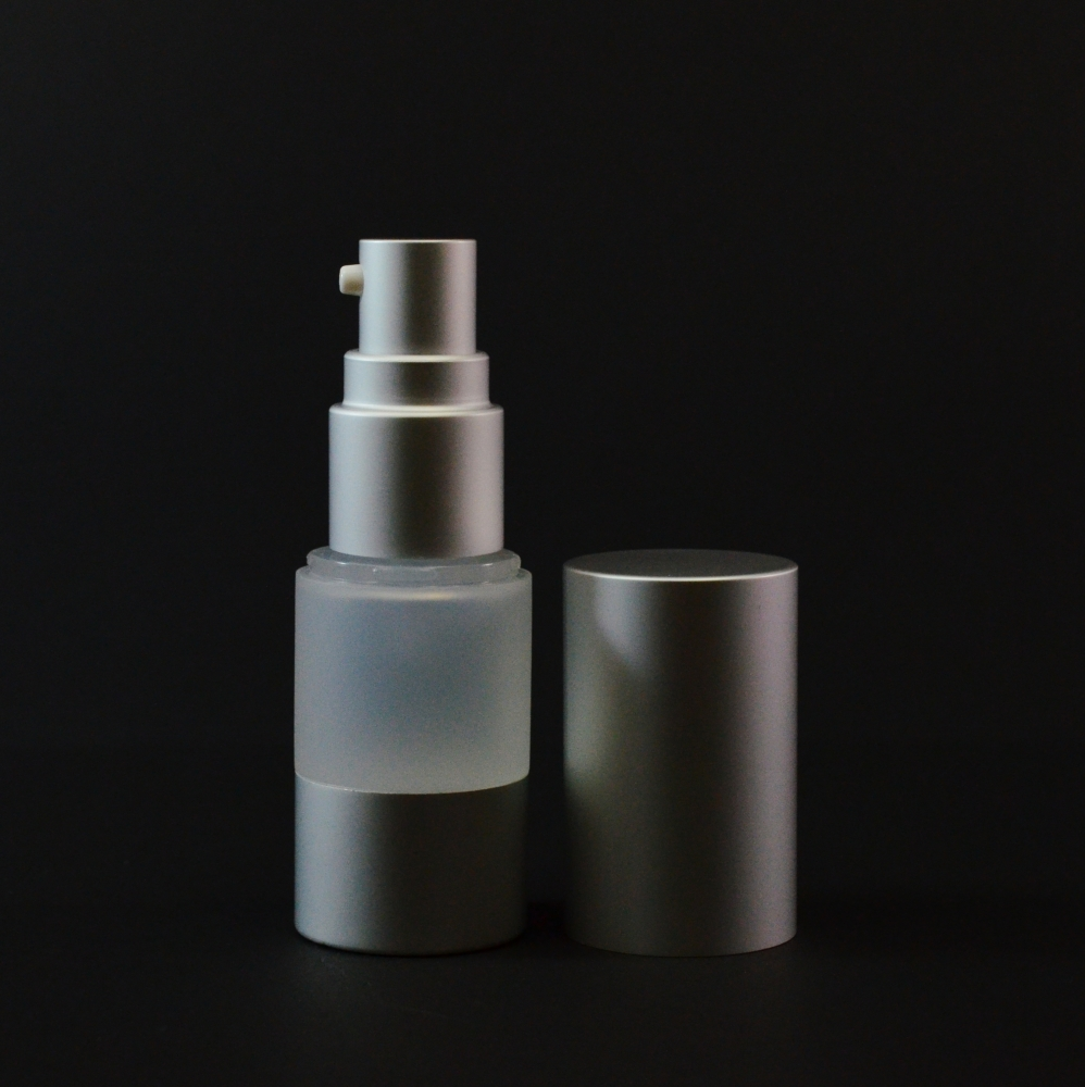 30 ml Airless Frosted Bottle with Matte Silver Pump and Hood