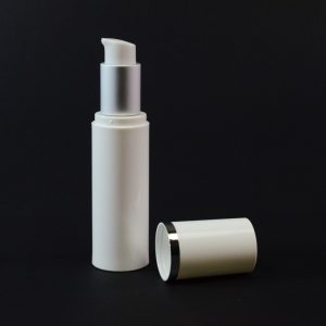 Airless Bottle 30ml White with Matte Silver Collar and White Hood_2984