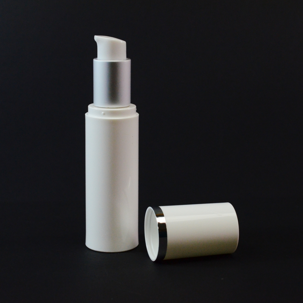 30 ml Airless White Bottle with Matte Silver Collar and White Hood