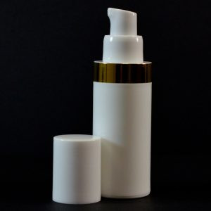 Airless Bottle 30ml White with Shiny Gold Band_2989