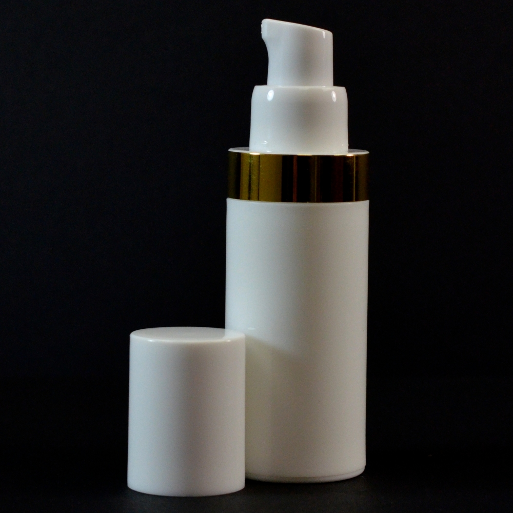 30 ml Airless White Bottle with Shiny Gold Band