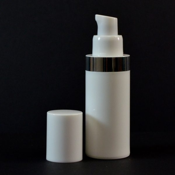 Airless Bottle 30ml White with Shiny Silver Band_2988
