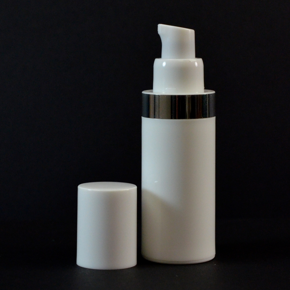 30 ml Airless White Bottle with Shiny Silver Band