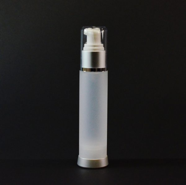 Airless Bottle 50ml Frosted Matte Silver Collar with Clear Hood_2978