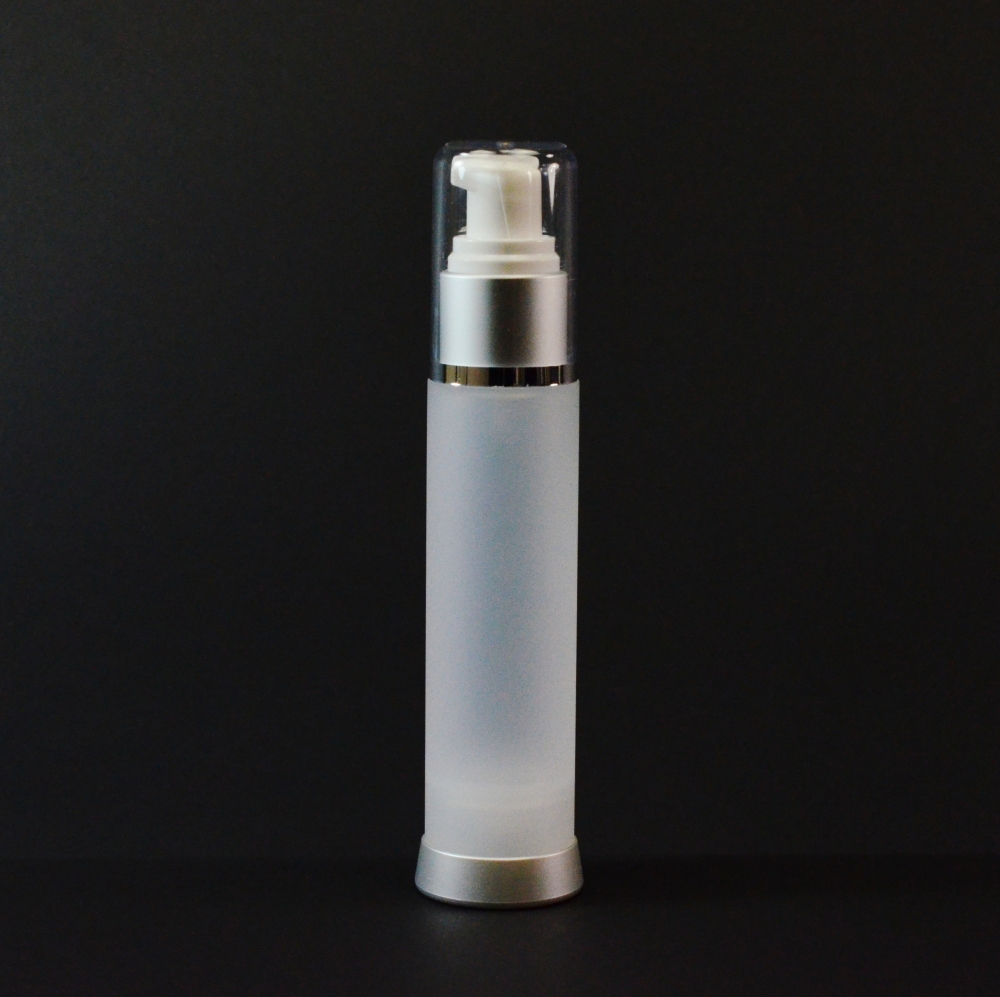 50 ml Airless Frosted Bottle Matte Silver Collar with Clear Hood