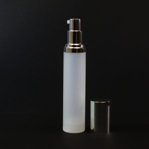 Airless Bottle 50ml Frosted PP Shiny Silver Pump and Hood_2975