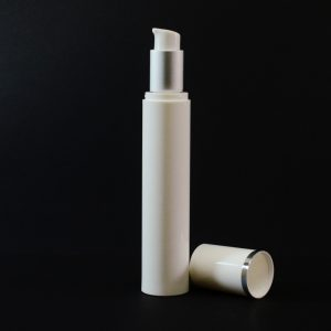 Airless Bottle 50ml White with Matte Silver Collar and White Hood_2985