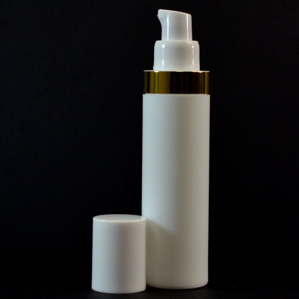 50 ml Airless White Bottle with Shiny Gold Band