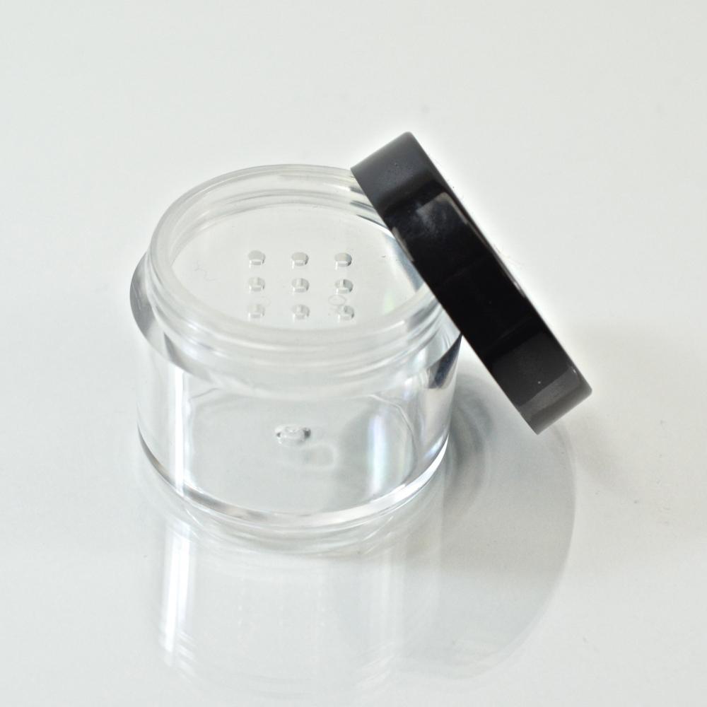 0.5 oz. 33/400 Clear with Black Cap Cosmetic Powder Jar