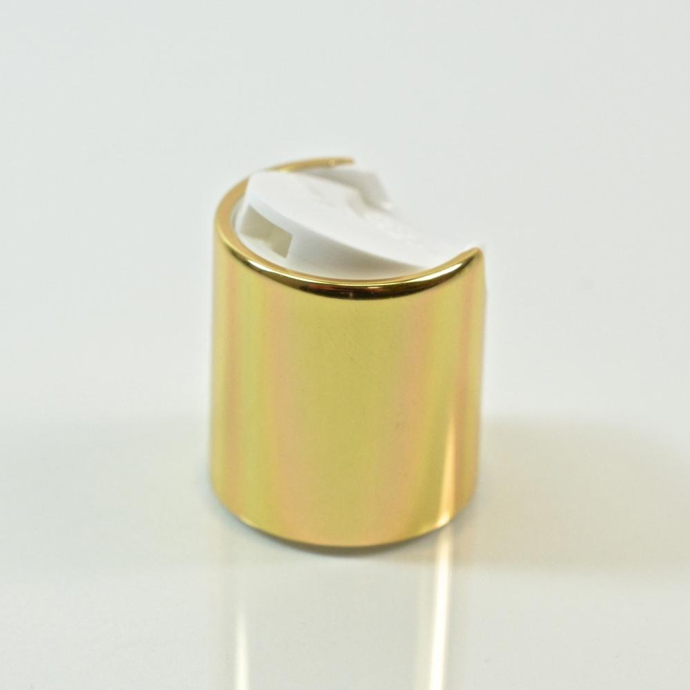 20/410 White/Gold Metal Overshell Dispensing Cap PP/Aluminum