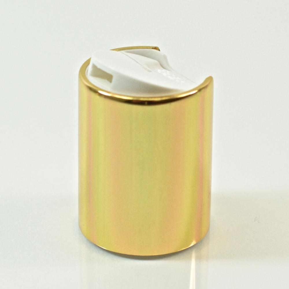 20/415 White/Gold Metal Overshell Dispensing Cap PP/Aluminum