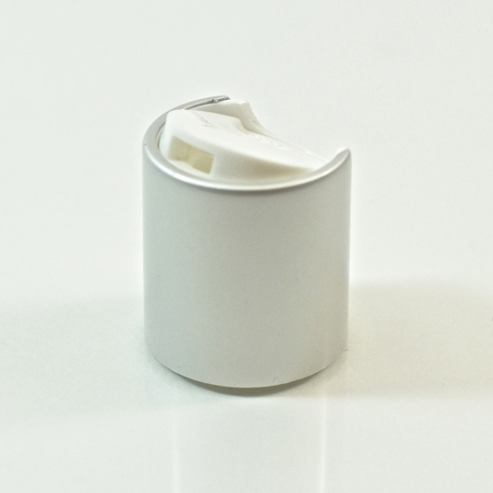 24/410 White/Matte Silver Metal Overshell Dispensing Cap PP/Aluminum