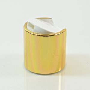 Disc Cap 24-410 White Shiny Gold Metal Shell_1873