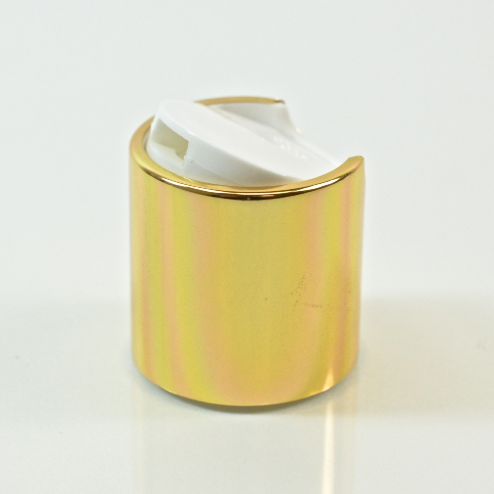 24/410 White/Gold Metal Overshell Dispensing Cap PP/Aluminum