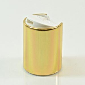 Disc Cap 24-415 White Shiny Gold Metal Shell_1875