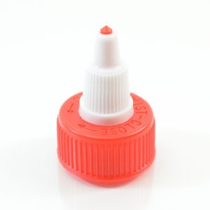 Dispensing Cap Twist Open 24-410 Ribbed Red-White_1900