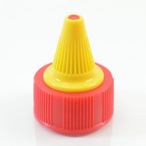 Dispensing Cap Twist Open 33-400 Ribbed Red-Yellow_1922