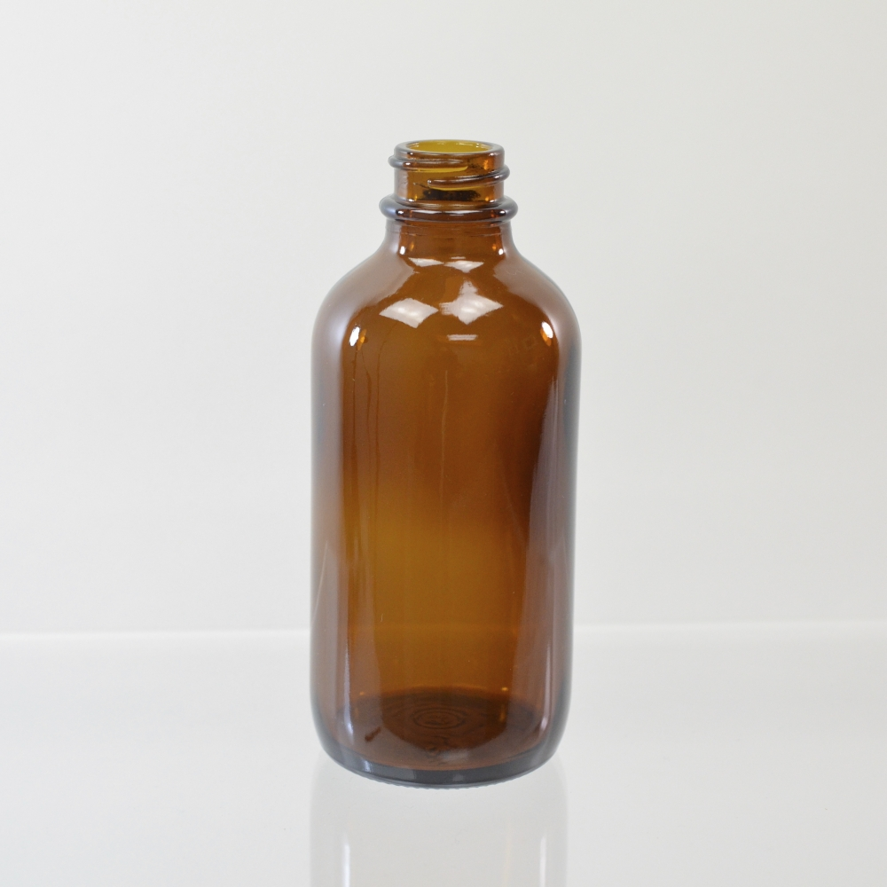 4 oz Boston Round 22/400 Amber Glass Bottle