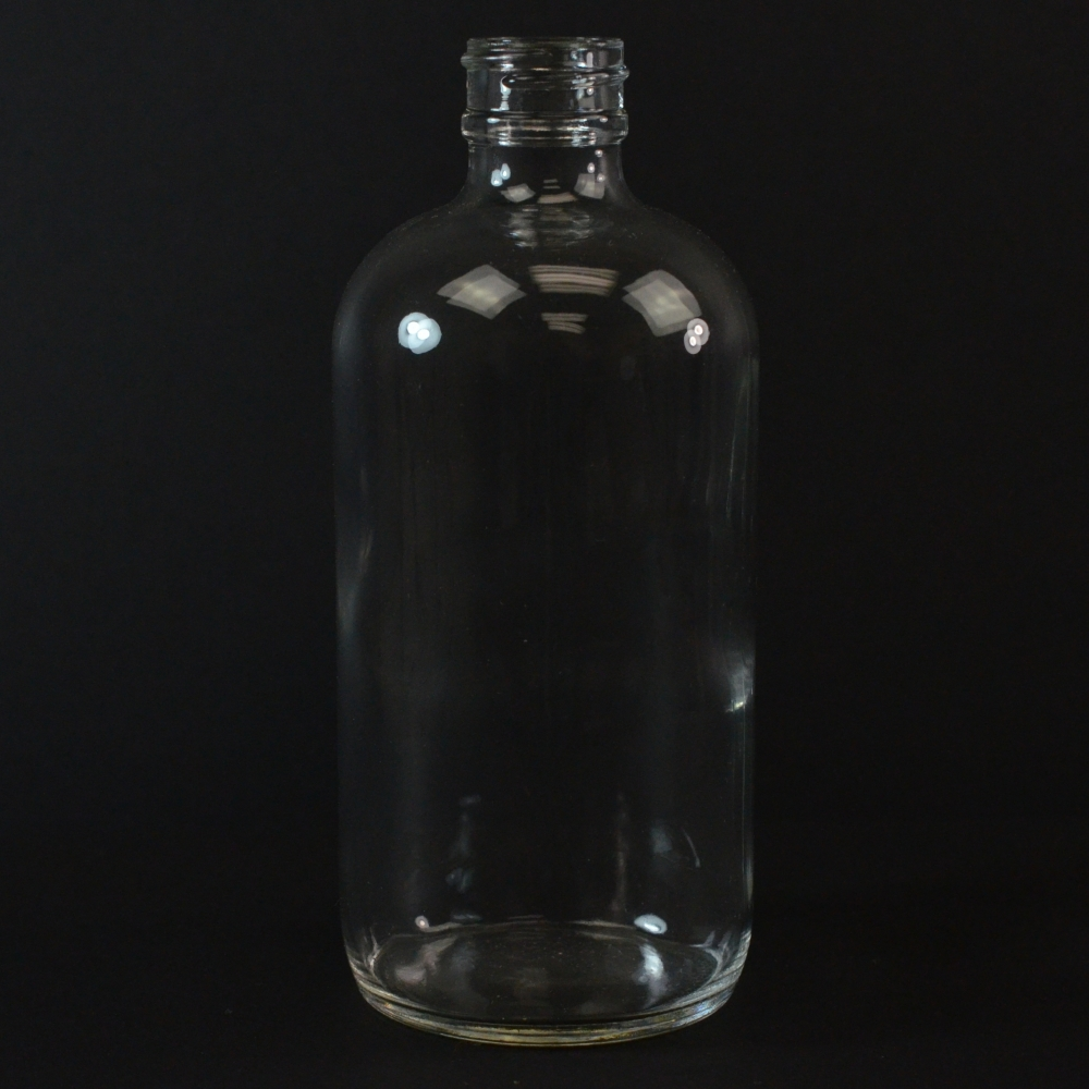 8 oz Boston Round 24/400 Clear Glass Bottle