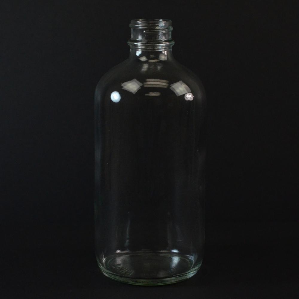 8 oz Boston Round 28/400 Clear Glass Bottle