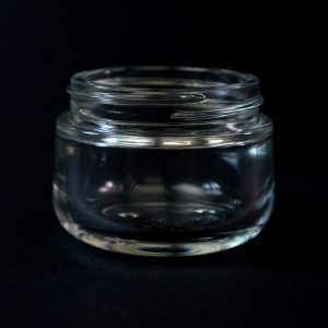 Glass Jar 50ml Heavy Wall Round Base Goutte Clear 53-400_1097