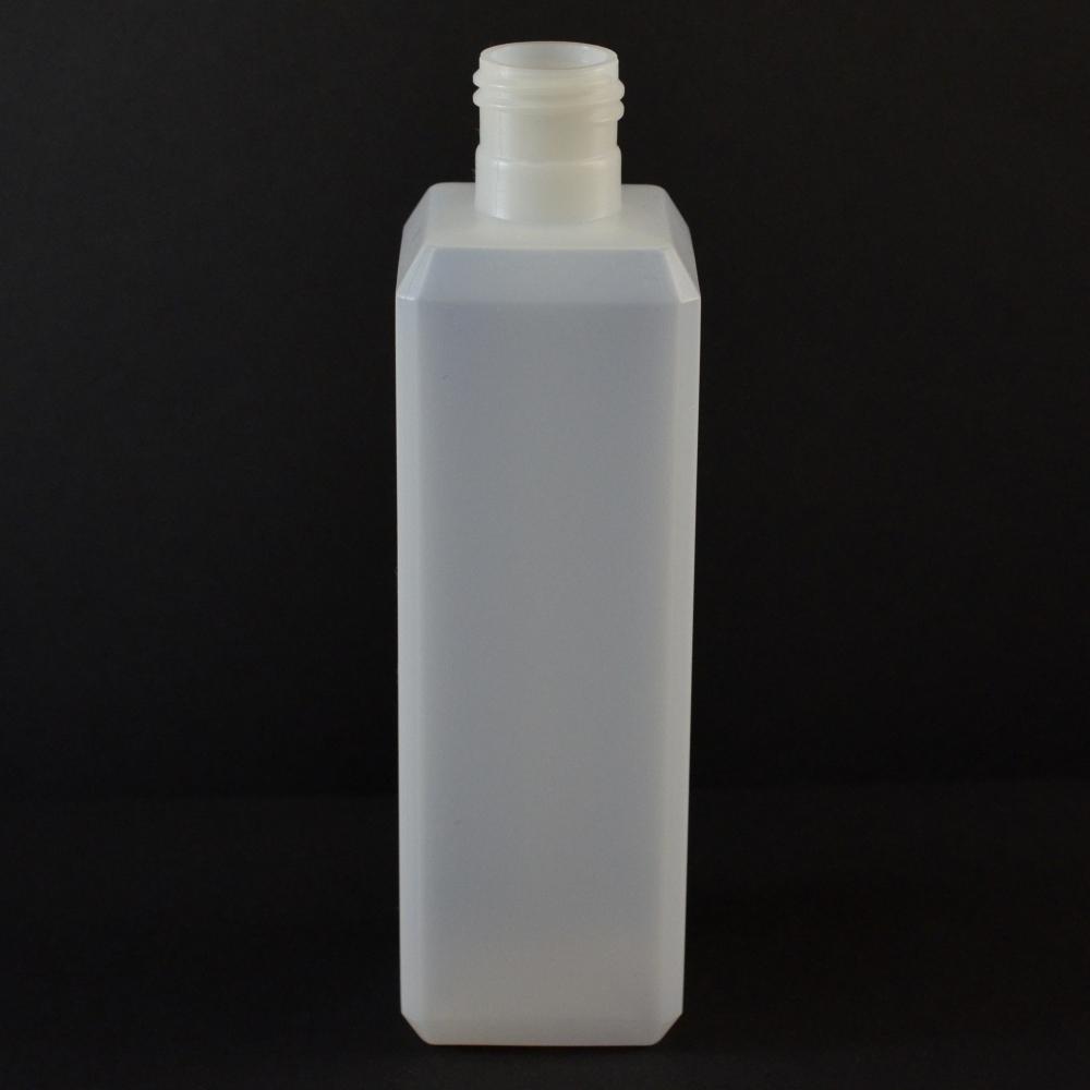 8 oz 24/415 Natural Beveled Square HDPE Bottle