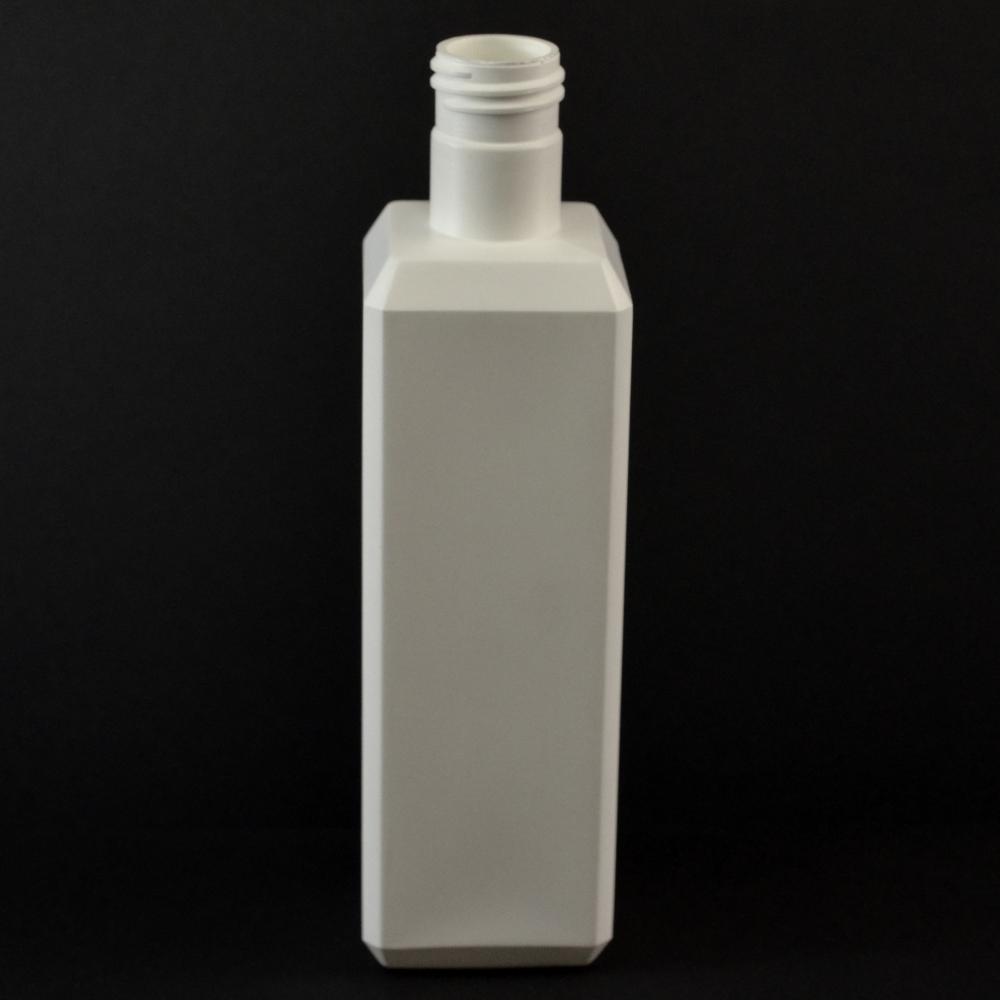 8 oz 24/415 White Beveled Square HDPE Bottle