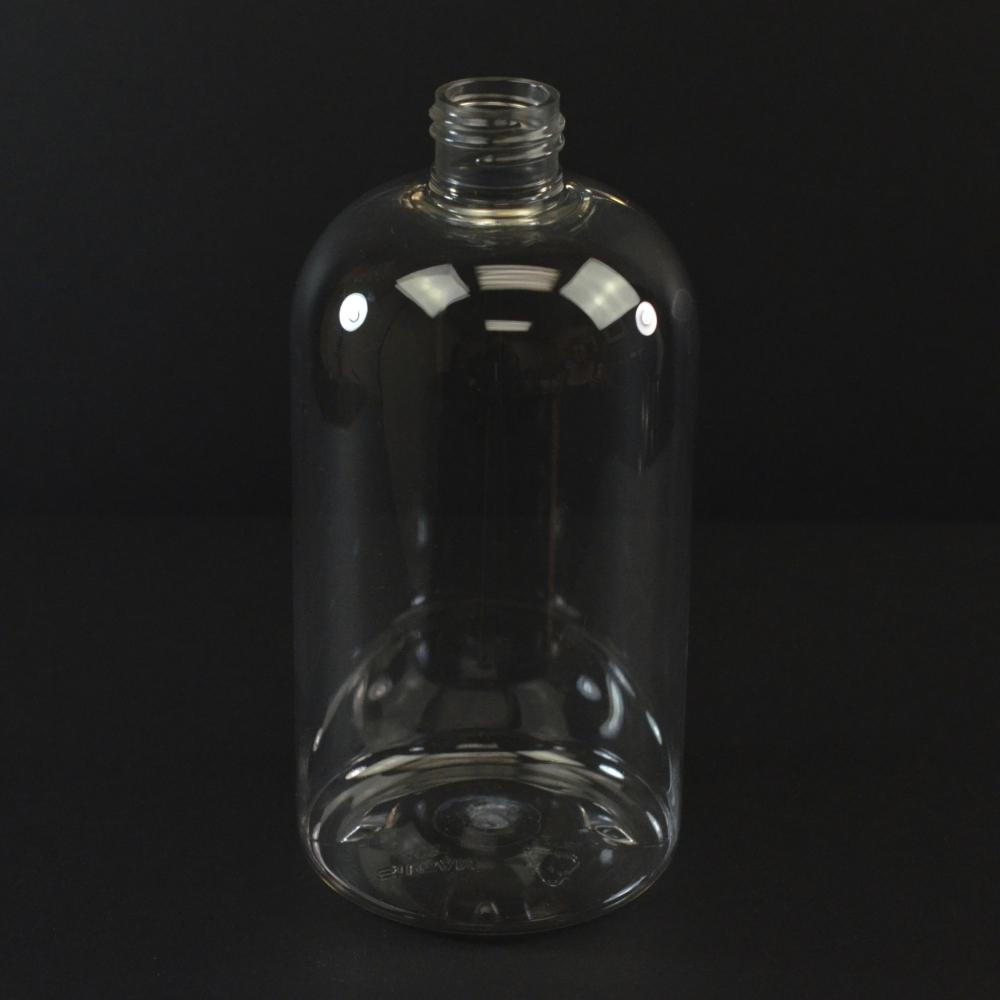 8 oz 24/410 Squat Boston Round Clear PET Bottle