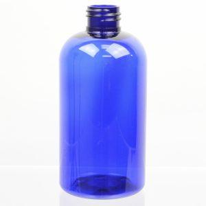 Plastic Bottle 8 oz. Squat Boston Round Cobalt PET 20-410_1083