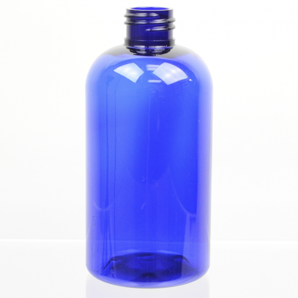 8 oz 24/410 Squat Boston Round Cobalt PET Bottle