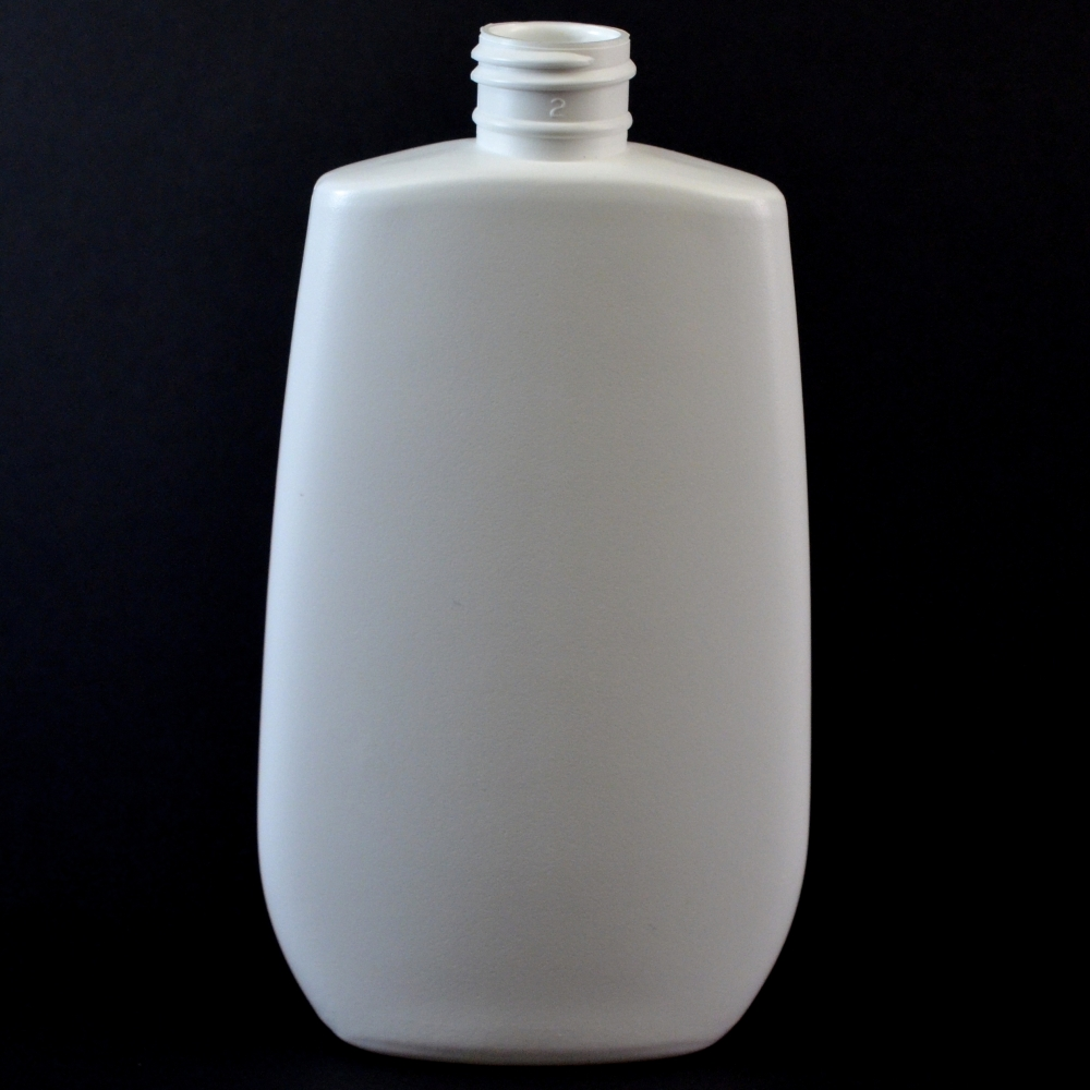 8 oz 24/410 Tapered Oval White HDPE Bottle