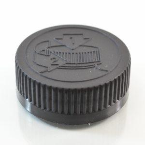 Plastic Cap 38mm Ribbed Black Pictorial CRC_2041