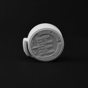 Plastic Cap CT White Fine Ribbed Child Resistant 38-400 CL_2042